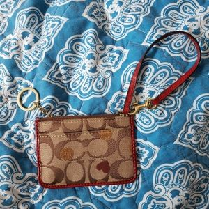 Coach Red Patent Classic Pattern Heart Wristlet